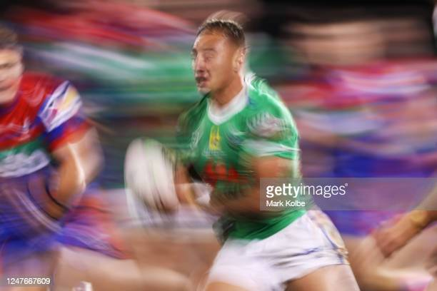 Charnze Nicoll-Klokstad of the Raiders during the round four NRL match between the Canberra Raiders and the Newcastle Knights at Campbelltown Stadium...