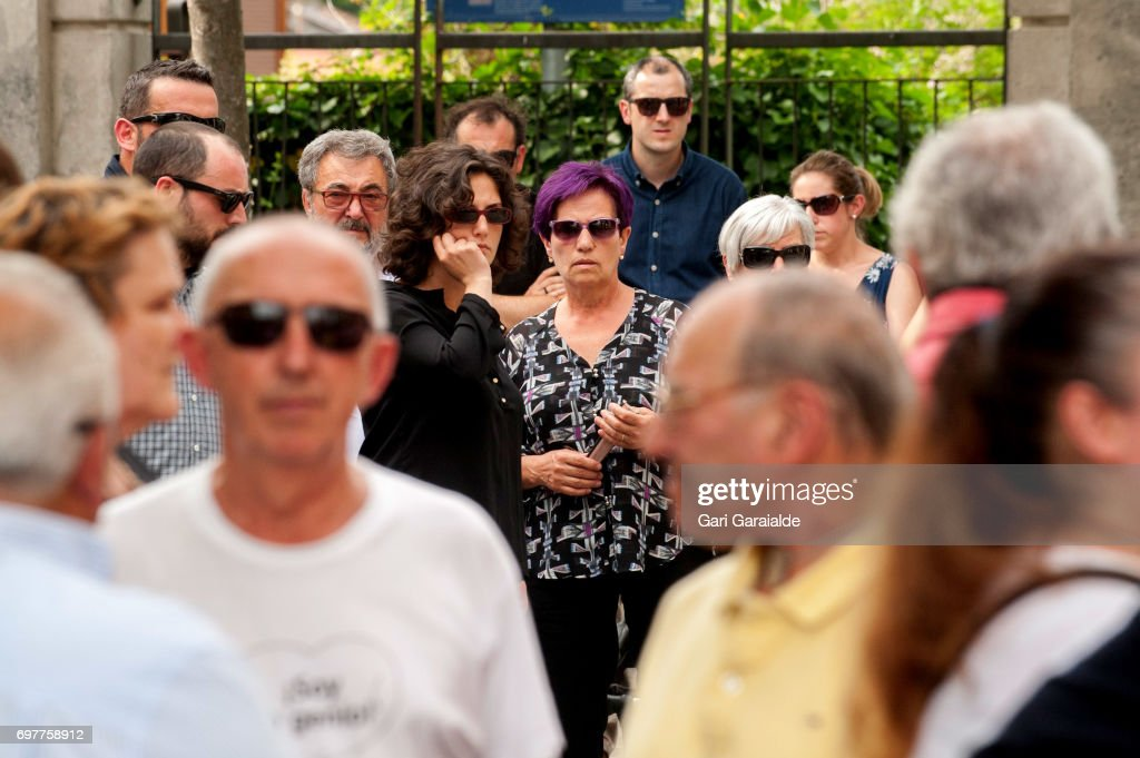 Charo Barros (C), bullfighter Ivan Fandino's mother attends the funeral of her son on June 19, 2017 in Orduna, Spain.