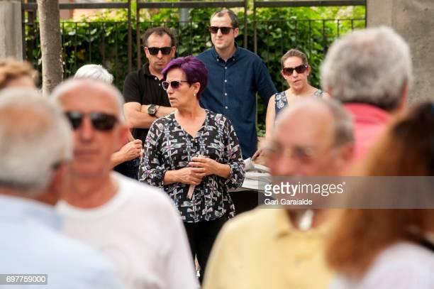 Charo Barros bullfighter Ivan Fandino's mother attends the funeral of her son on June 19 2017 in Orduna Spain