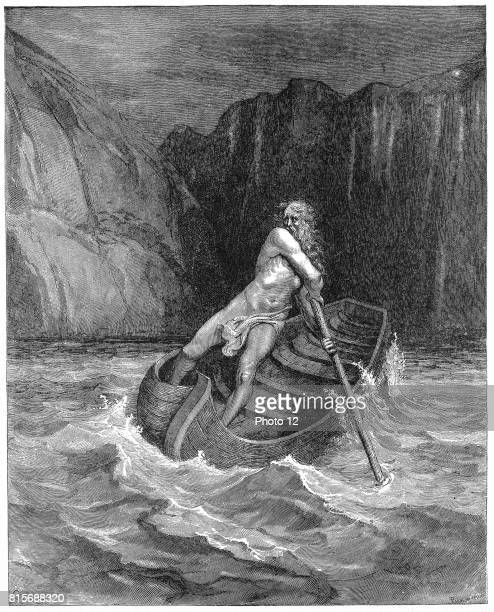 Charon the ferryman rowing to collect Dante and his guide Virgil to carry them across the Styx Illustration by Gustave Dore for Dante Inferno Canto...
