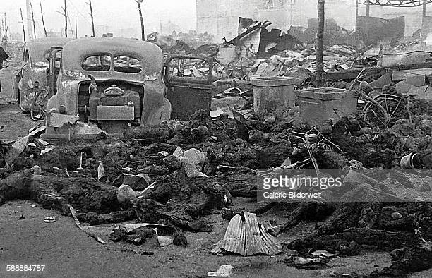 Charred remains of Japanese civilians after the American bombing 10th March 1945 The Operation Meetinghouse air raid of 910 March 1945 was later...