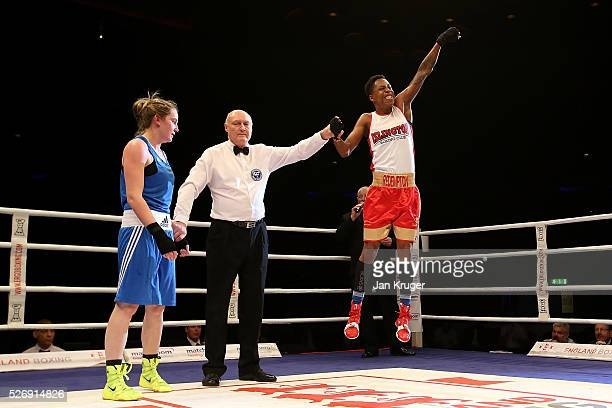 Charrelle Brown the win over Paige Murney in their over 64kg final bout during day three of the Boxing Elite National Championships at Echo Arena on...