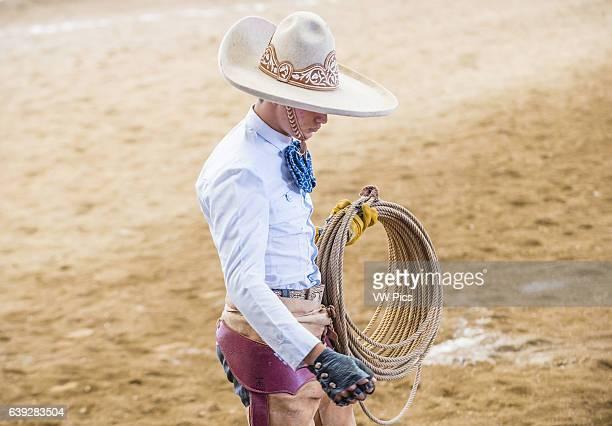 Charro participates at the 23rd International Mariachi Charros festival in Guadalajara Mexico