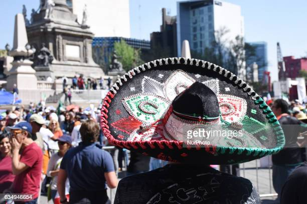 A charro take part at protest against US president Donald Trump because The lifting of the wall at the border to avoid crossborder migration at...