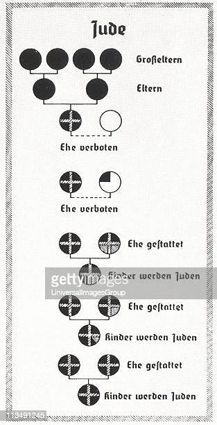 Chart from Nazi Germany used to explain the Nuremberg Laws The Nuremberg Laws of 1935 employed a pseudoscientific basis for racial discrimination...