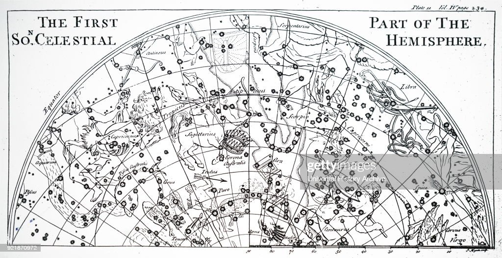 Chart of the first half of the star chart of the Southern Skies. Dated 18th century.