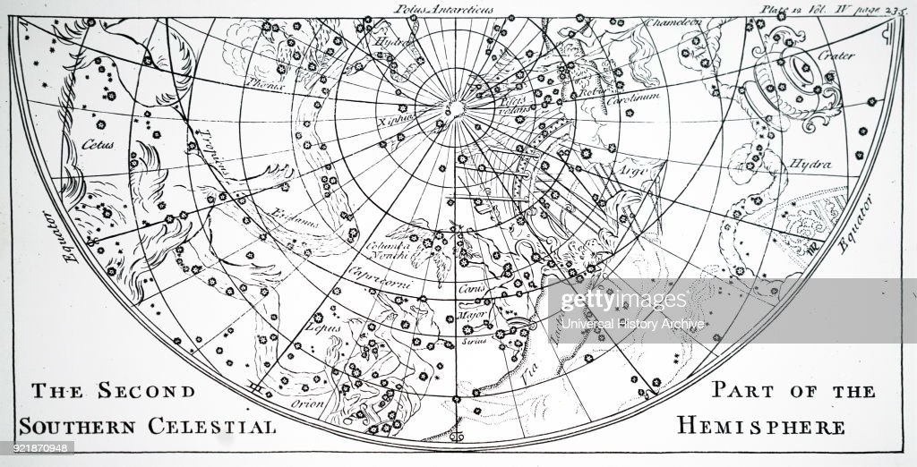 Chart of the second half of the star chart of the Northern Skies. Dated 18th century.