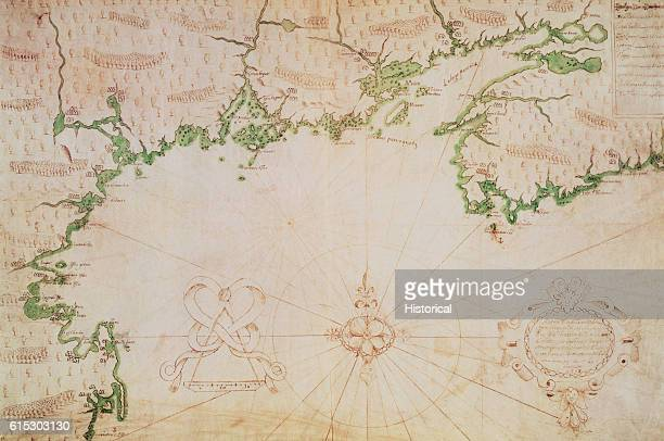 A chart on vellum of the coasts of what is now the east coast of the US and the Canadian provinces of New Brunswick and Nova Scotia The mapmaker was...