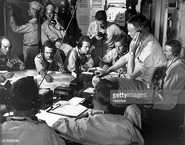 Chart room on board USS Lexington as ship maneuvers into enemy waters during strike in the Gilbert and Marshall Islands December 1943