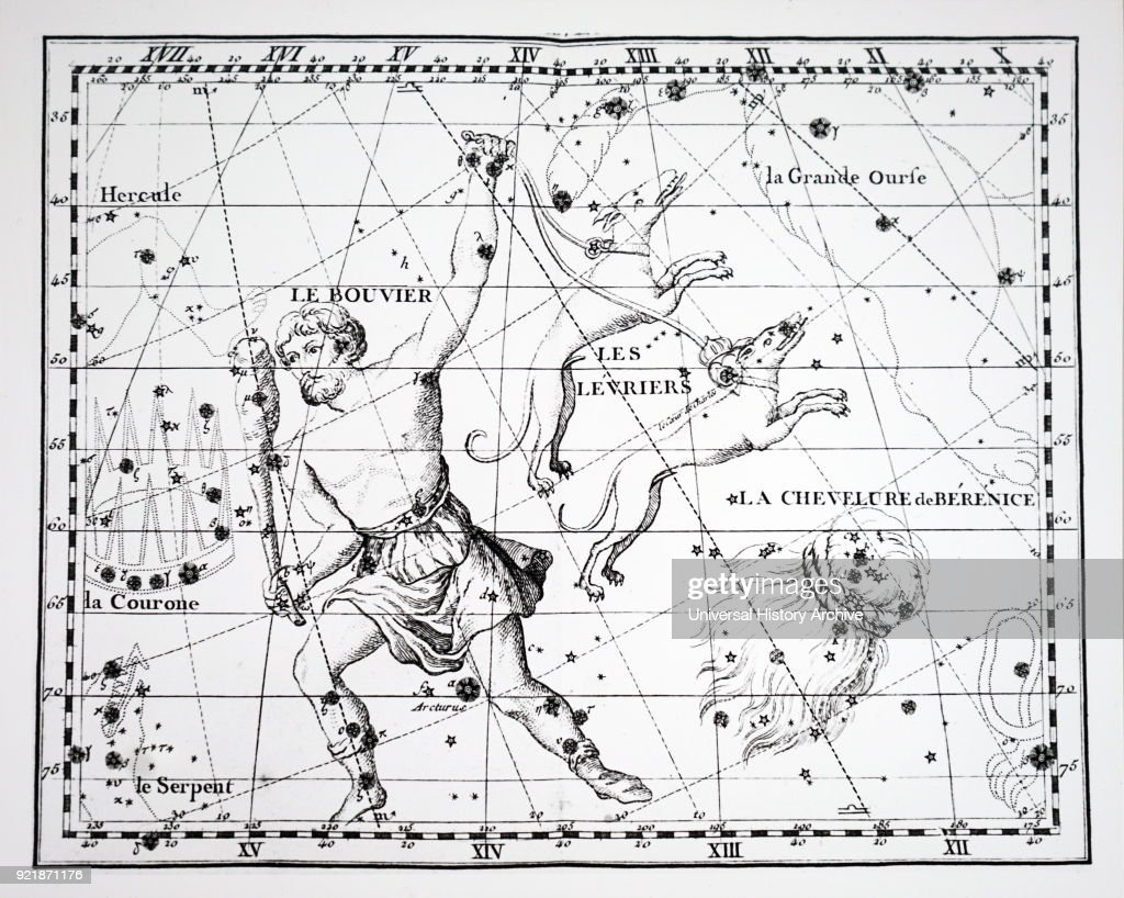 Chart showing constellations in the region of Bootes. Dated 18th century.