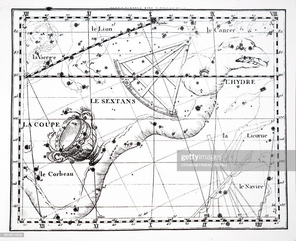 Chart showing constellations of Hydra, Sextans and Crater. Dated 18th century.