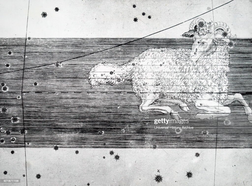 Chart showing the constellation of Aries. Dated 18th century.