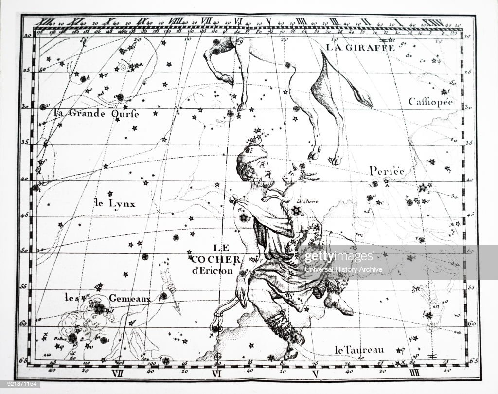 Chart showing the constellation of Auriga. : News Photo