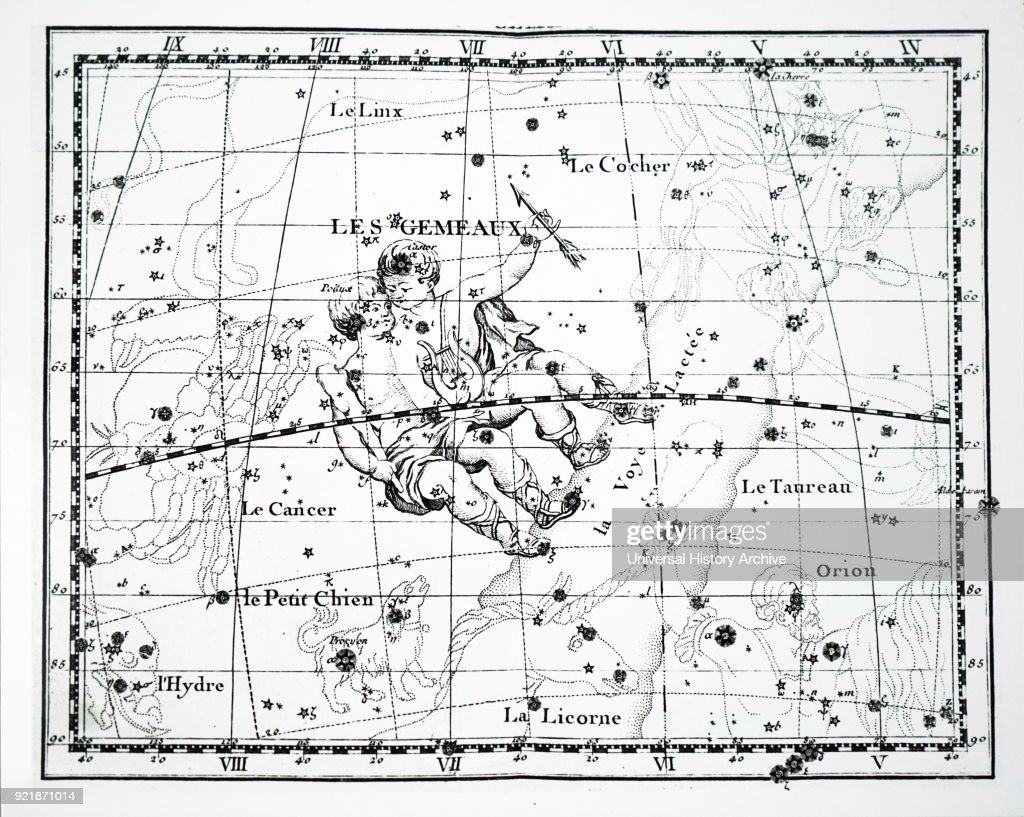 Chart showing the constellation of Gemini. Dated 18th century.