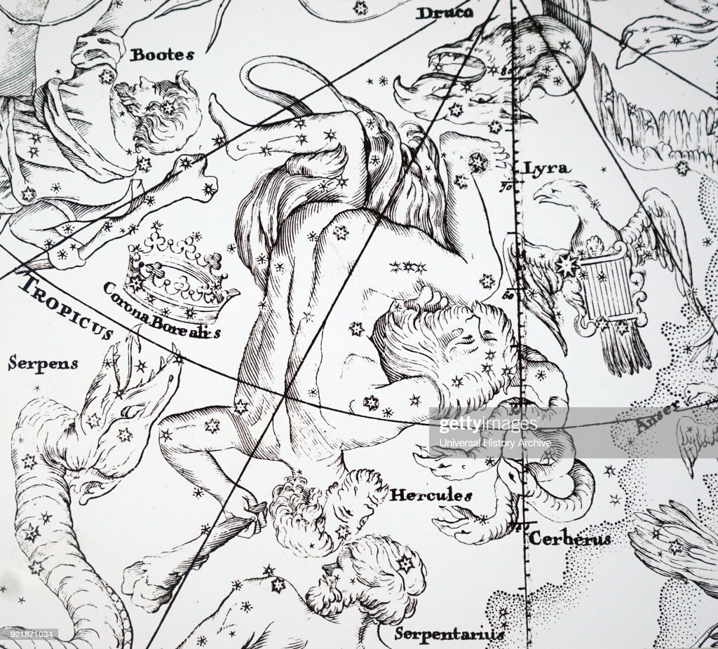 Chart showing the constellation of Hercules. : News Photo