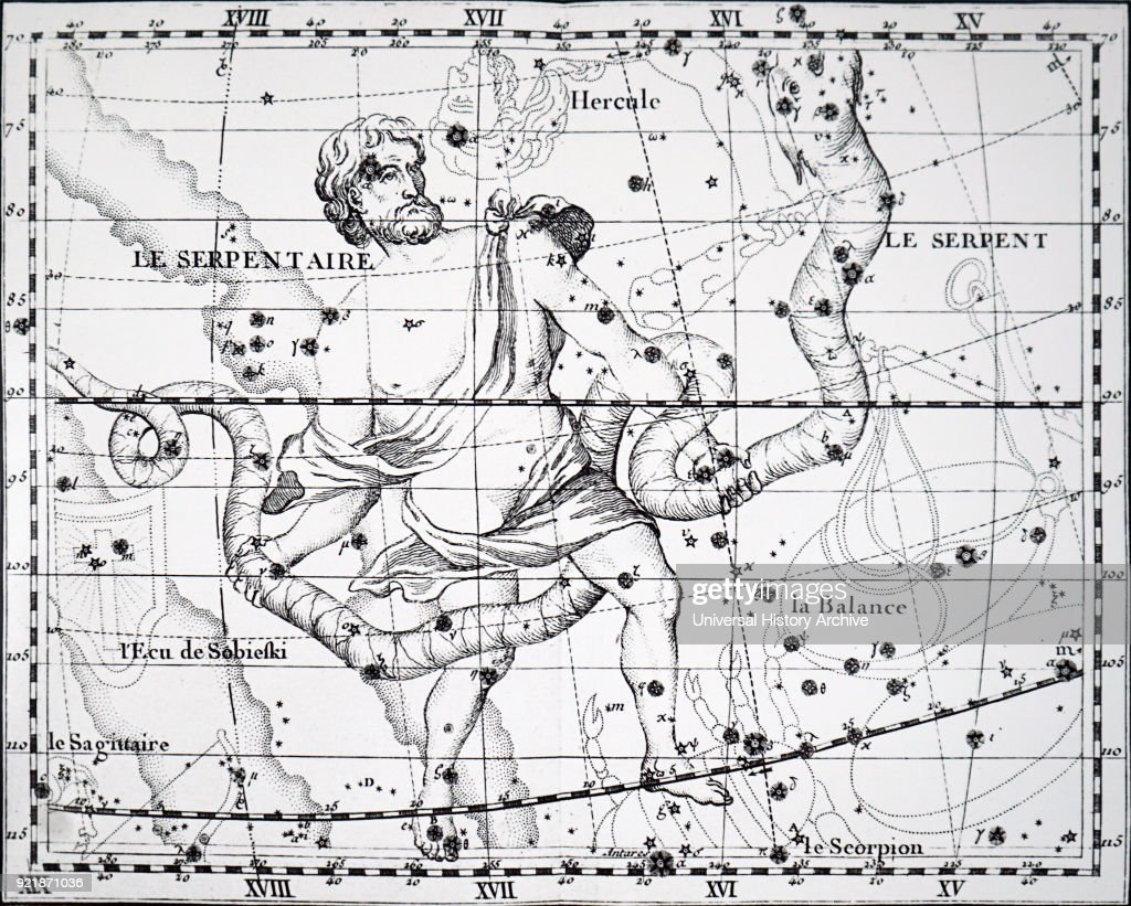 Chart showing the constellation of Ophiuchus (Serpent Bearer) and Serpens. Dated 18th century.