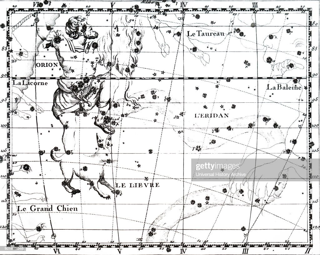 Chart showing the constellation of Orion. Dated 18th century.