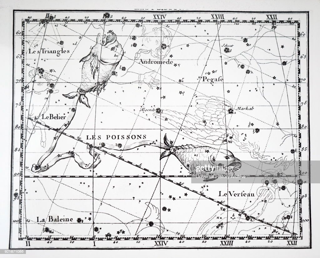 Chart showing the constellation of Pisces. Dated 18th century.