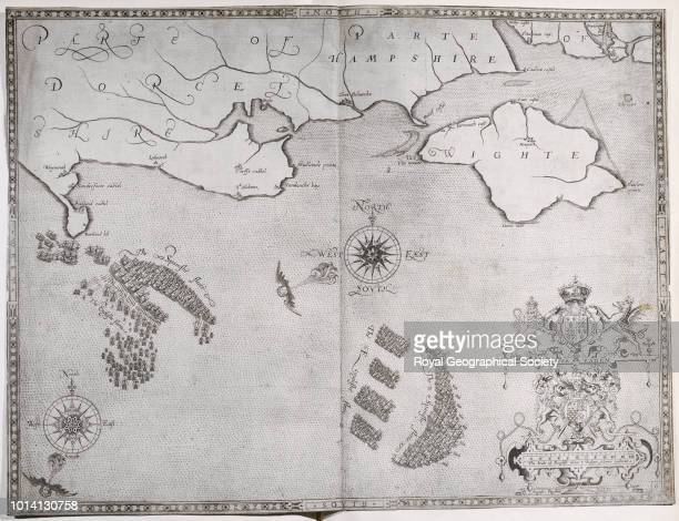 Chart showing the Spanish Armada off the Isle of Wight From 'Expeditionis Hispanorum in Angliam vera descriptio' by Rober Adamo [London 1590] United...