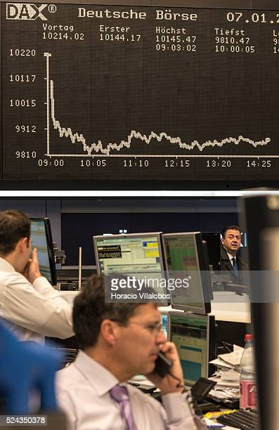 DAX chart shows a sharp fall during floor trading at the German Stock Exchange in Frankfurt Germany 07 January 2016 European shares fell 3 percent...