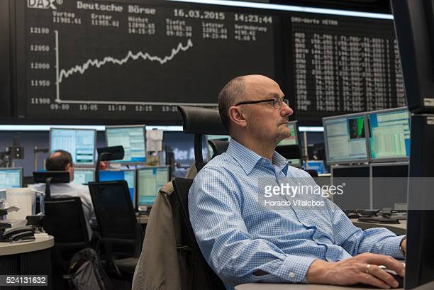 DAX chart shows its level above 12000 points during floor trading at German Stock Exchange in Frankfurt Germany 16 March 2015 A new record value was...