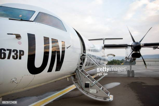 A Charter Aircraft of the United Nations at the airport in Addis Ababa on May 01 2017 in Addis Ababa Ethiopia