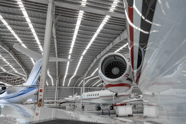 A charter plane Hangar filled with planes