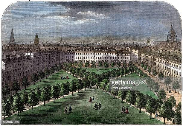 'Charterhouse Square' 19th century From a view for Stow's Survey Handcoloured later