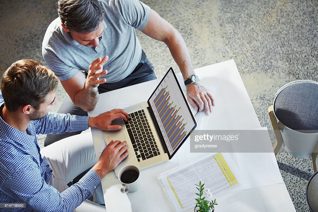 Charting business growth with technology : Stock Photo