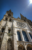 Chartres cathedral facade under blue sky