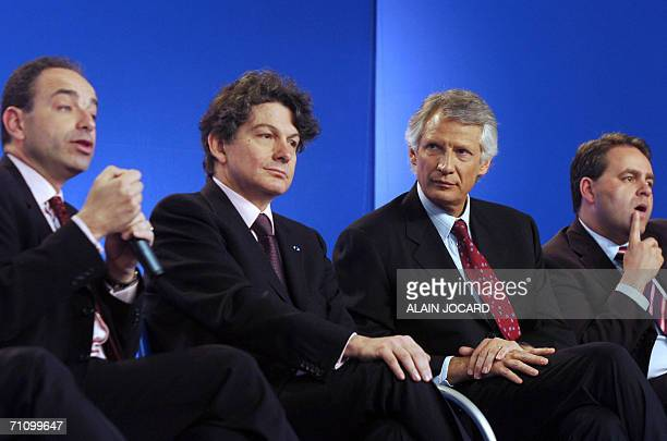 French Prime Minister Dominique de Villepin delivers a speech during his monthly press conference 01 June 2006 in the central French city of Chartres...