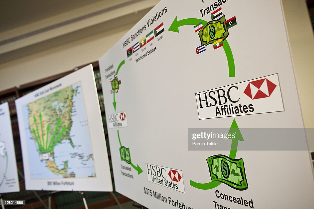 Charts prepared by the US Department of Justice are on display during a news conference to announce money laundering charges against HSBC on December 11, 2012 in the Brooklyn borough of New York City. HSBC Holdings plc and HSBC USA NA have agreed to pay $1.92 billion and enter into a deferred prosecution agreement with the U.S. Department of Justice in regards to charges involving money laundering with Mexican drug cartels.