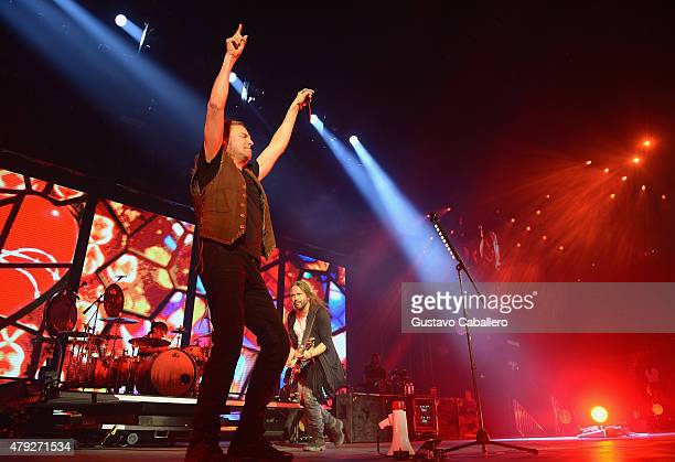 Charttopping band Mana performs at American Airlines Arena on the Miami stop of their Cama Incediada tour sponsored by Chivas Regal on July 2 2015 in...