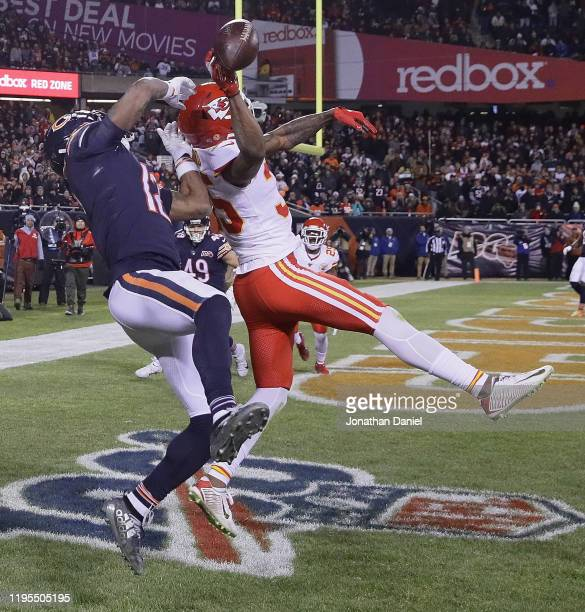 Charvarius Ward of the Kansas City Chiefs breaks up a 4th down pass intended for Allen Robinson of the Chicago Bears in the end zone at Soldier Field...