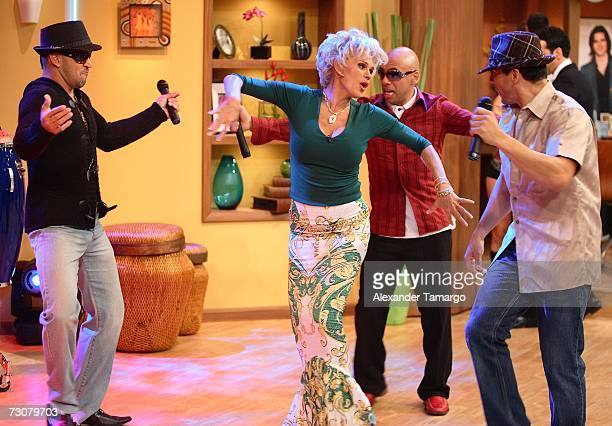 Charytin Goyco and Grupo Mania appear on the new set of Escandalo TV for their 5th Anniversay episode on January 22 2007 in Miami Florida