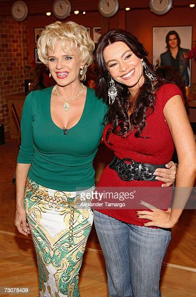 Charytin Goyco and Sofia Vergara appear on the new set of Escandalo TV for their 5th Anniversay episode on January 22 2007 in Miami Florida