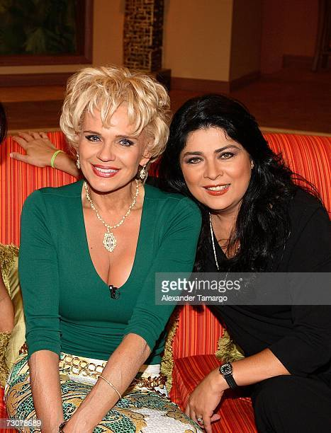 Charytin Goyco and Victoria Ruffo appear on the new set of Escandalo TV for their 5th Anniversay episode on January 22 2007 in Miami Florida