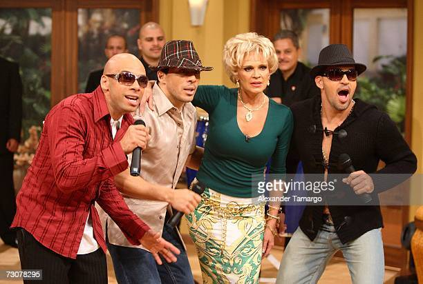 Charytin Goyco appears with Grupo Mania on the new set of Escandalo TV for their 5th Anniversay episode on January 22 2007 in Miami Florida