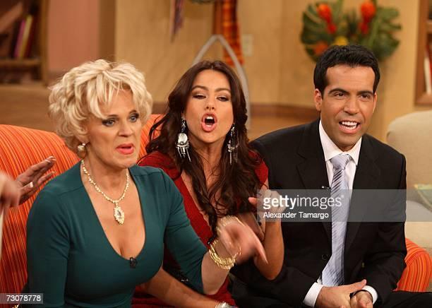 Charytin Goyco Sofia Vergara Felipe Viel appear on the new set of Escandalo TV for their 5th Anniversay episode on January 22 2007 in Miami Florida