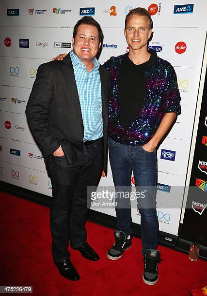 Chas Bono and Shane Jenek arrive at the 2014 Sydney Gay Lesbian Mardi Gras VIP Party on February 27 2014 in Sydney Australia