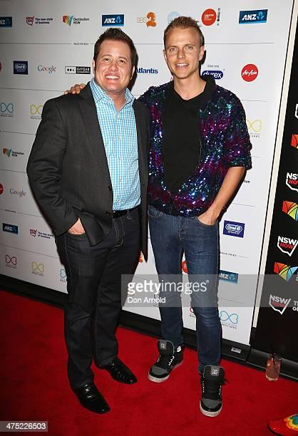 Chas Bono and Shane Jenek arrive at the 2014 Sydney Gay Lesbian Mardi Gras VIP Party on February 27 2014 in Sydney Australia