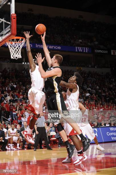 Chas McFarland of the Wake Forest Demon Deacons drives to the hoop against the Maryland Terrapins at the Comcast Center on January 15 2008 in College...