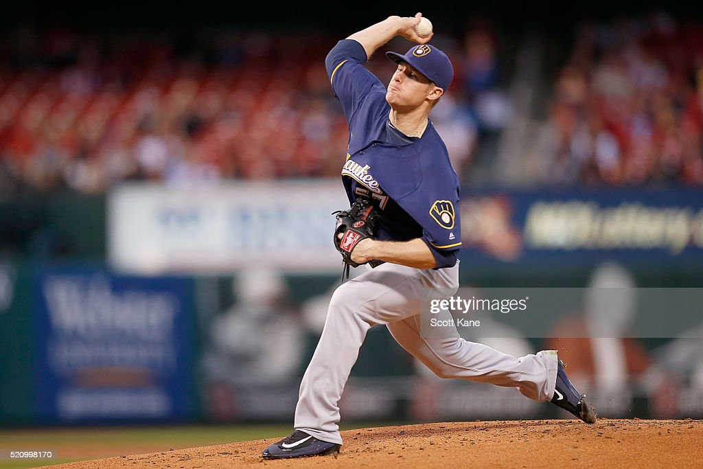 Chase Anderson #57 of the Milwaukee Brewers pitches against the St. Louis Cardinals during the first inning at Busch Stadium on April 13, 2016 in St. Louis, Missouri.