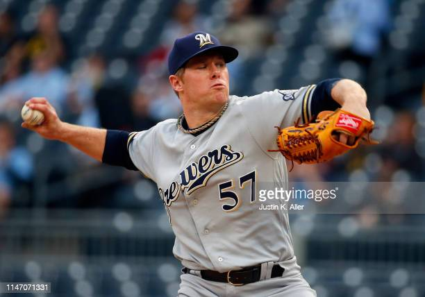 Chase Anderson of the Milwaukee Brewers pitches in the first inning against the Pittsburgh Pirates at PNC Park on May 30, 2019 in Pittsburgh,...