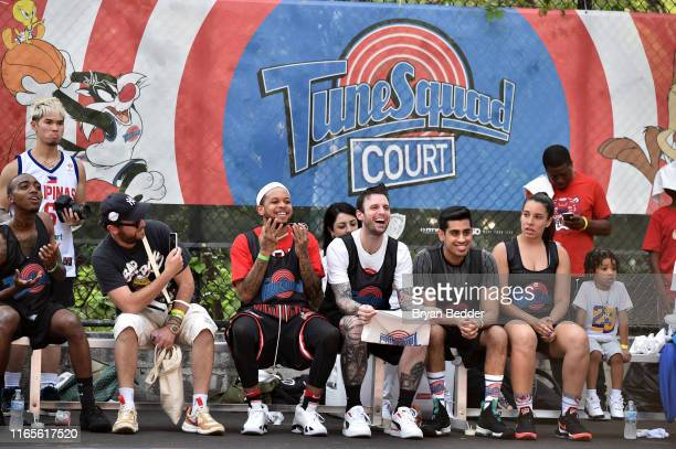 Chase B Chris Brickley Omar Raja and Lexington Clarke attend Warner Bros Tune Squad Court Launch event at Rodney Park on August 01 2019 in Brooklyn...