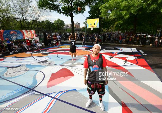 Chase B participates in Warner Bros Tune Squad Court Launch event at Rodney Park on August 01 2019 in Brooklyn City