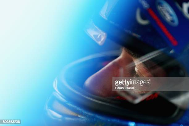 Chase Briscoe driver of the Cooper Standard Ford sits in his truck during practice for the NASCAR Camping World Truck Series Buckle Up In Your Truck...