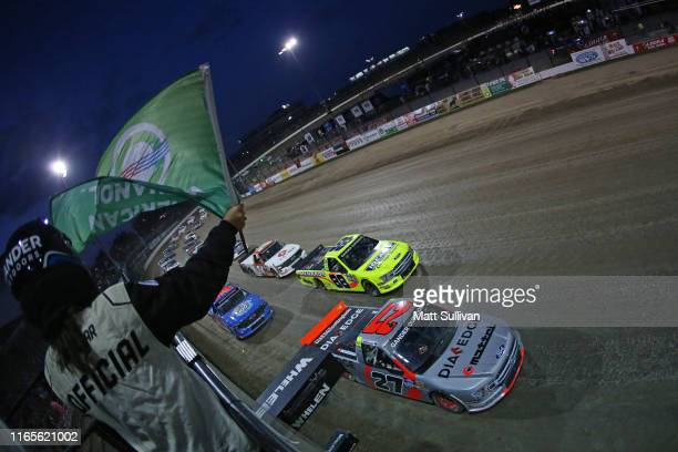 Chase Briscoe driver of the DiaEdge Ford takes the green flag to start the NASCAR Gander Outdoor Truck Series Eldora Dirt Derby at Eldora Speedway on...