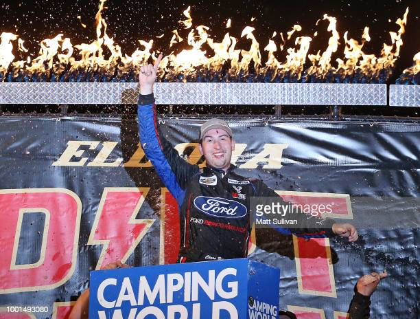Chase Briscoe driver of the Ford Ford celebrates in Victory Lane after winning the NASCAR Camping World Truck Series Eldora Dirt Derby at Eldora...