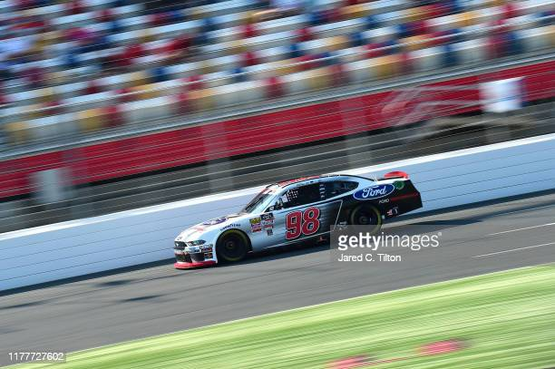 Chase Briscoe driver of the Ford Performance Ford races during the NASCAR Xfinity Series Drive for the Cure 250 presented by Blue Cross Blue Shield...